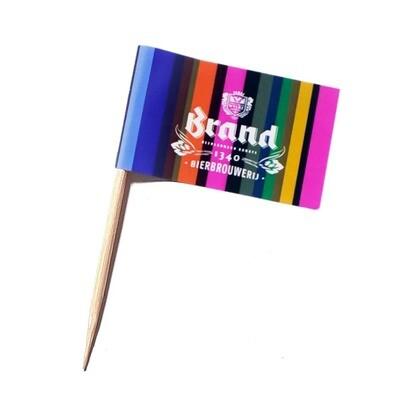 Bedrukte vlaggetjesprikker kort met rechthoekige vlag, vanaf 1000 stuks
