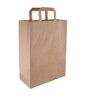 Kraftpapieren draagtas/blokbodemtas bruin 26+12x35cm, verpakt per 250 stuks