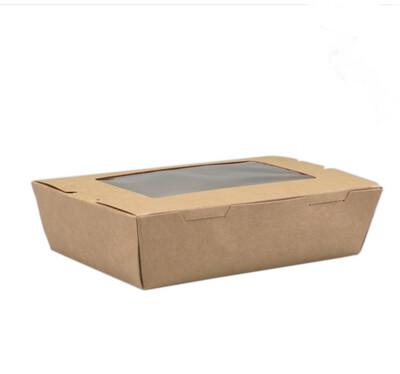Lunchbox, Karton/PE/PET, met venster, maaltijdbox, 180x120x50mm, bruin, verpakt per 50 stuks