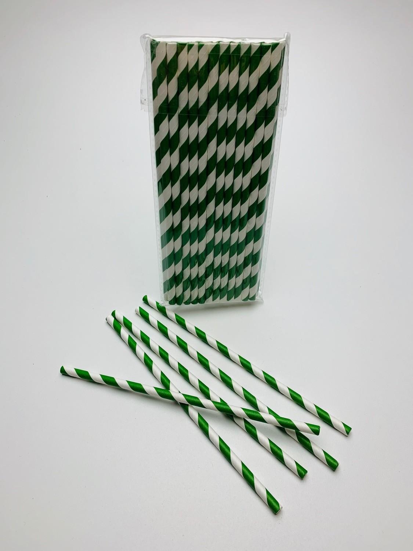 """Papieren rietje """"Swirl"""" Wit/Groen"""