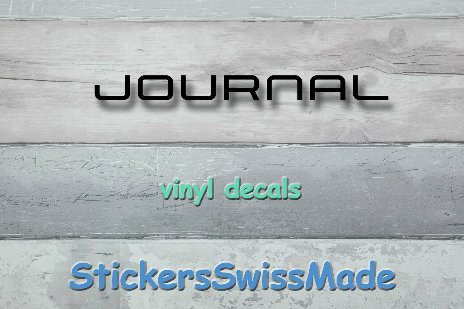 "vinyl decal - the word ""journal"" -  glossy"