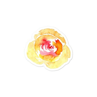 big sized watercolor flower stickers in three sizes - vinyl stickers - yellow roses