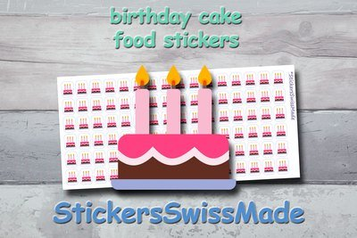 BIRTHDAY CAKE - food stickers - multicolored