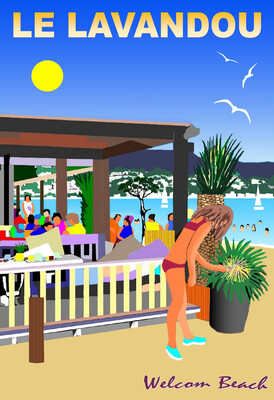 LE LAVANDOU  Welcom beach  50X70 cm ou 42X60cm