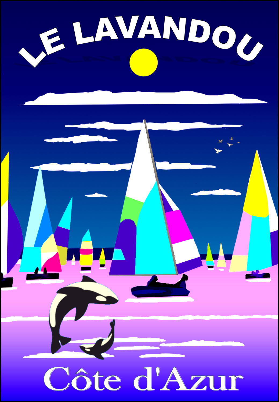Balade voilier -Le lavandou   50X70 cm  et 42X60 cm