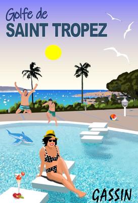 Golfe de Saint Tropez - Villa à Gassin  50X70 cm ou 42X60cm