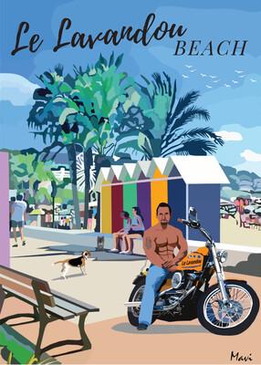 LE LAVANDOU Beach -AFFICHE -Format 50X70 ou 42X60 cm