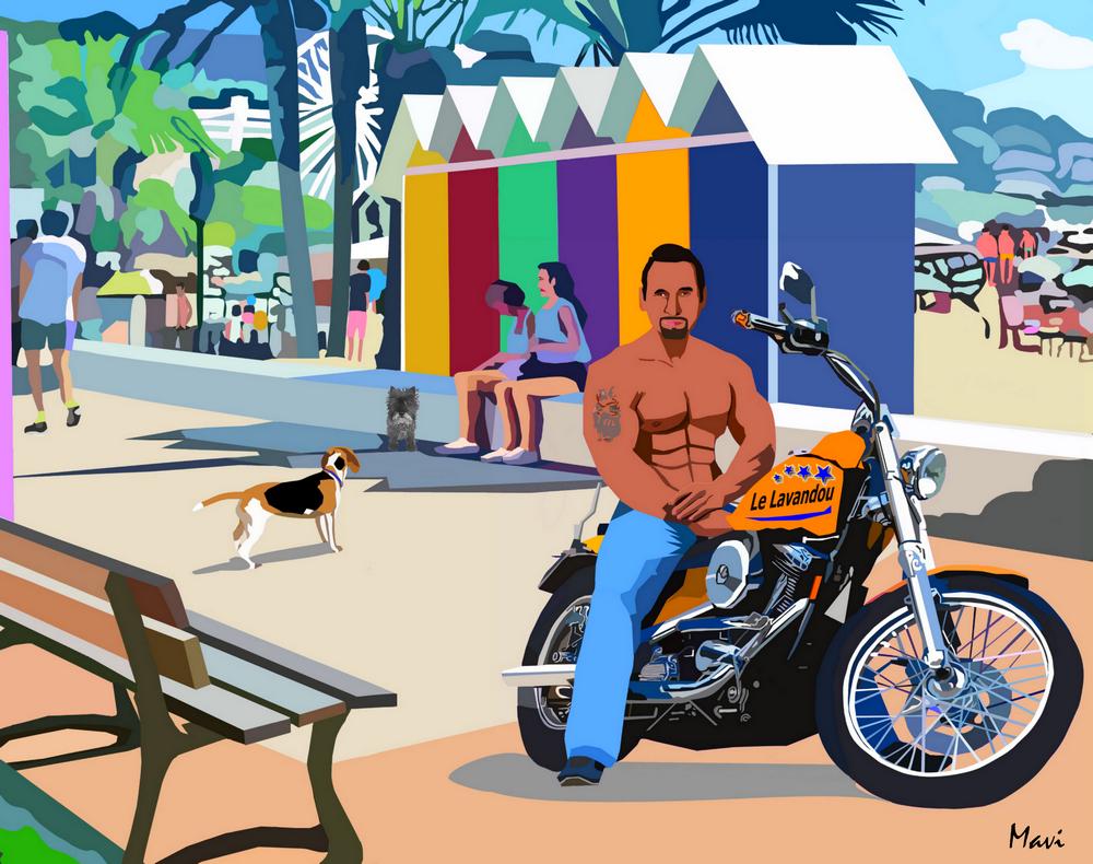 LE LAVANDOU : la plage du Centre 40X50 cm