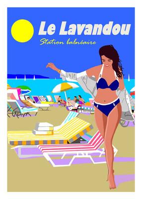 LE LAVANDOU station Balnéaire -  50X70 cm ou 42X60cm