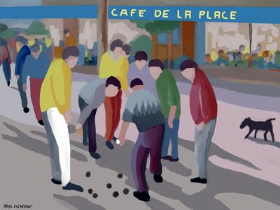 Le Café de la place à Saint paul de Vence..60X80 Huile sur toile