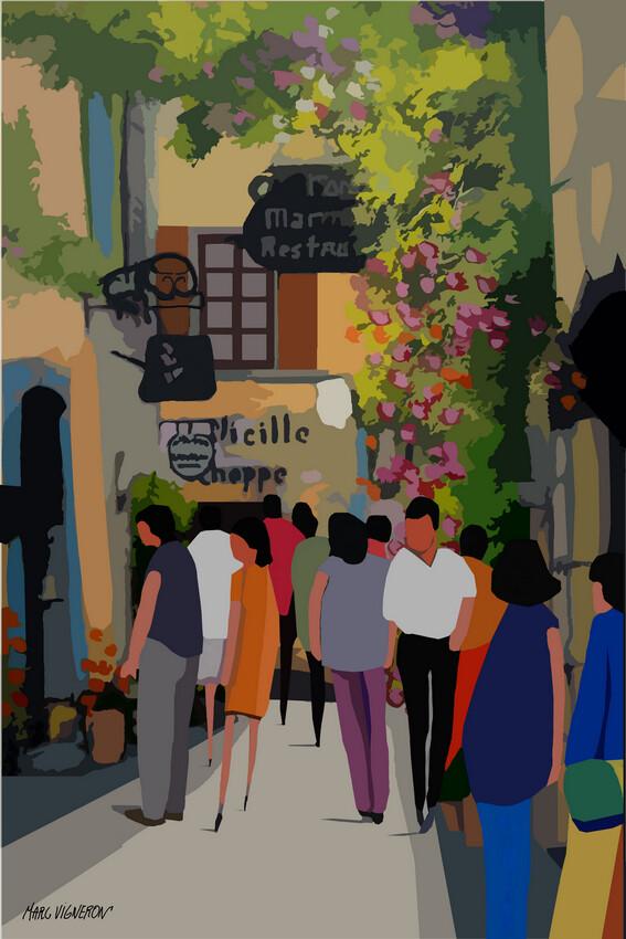 SAINT PAUL DE VENCE (Grand Rue) 42X60 ou 50X70cm