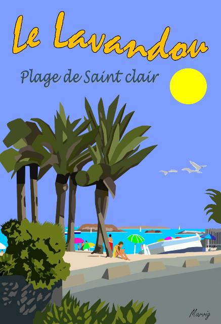 LE LAVANDOU -Plage de Saint Clair
