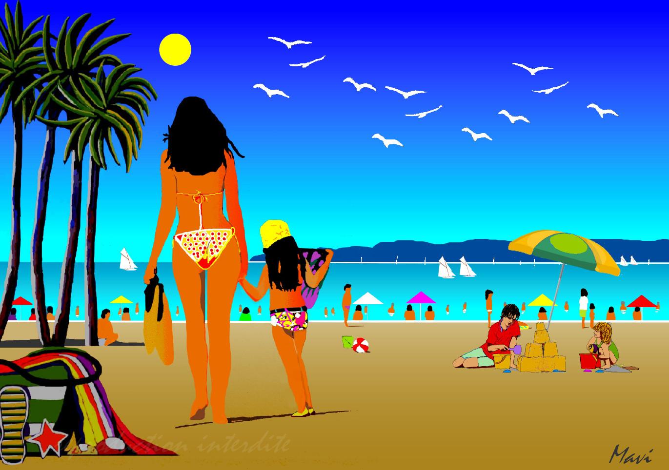 Sur la plage du Lavandou