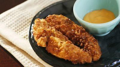Pretzel Crusted Chicken Strips w/ Honey Dijon Sauce