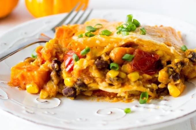 Turkey, Black Bean & Sweet Potato Enchilada Bake - GF