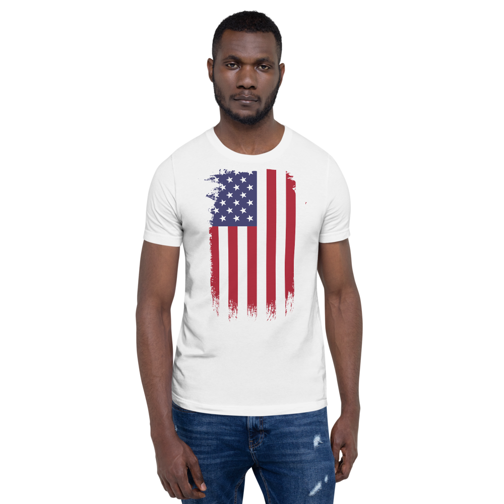 """""""Stand Up"""" American Flag Unisex T-Shirt in White"""