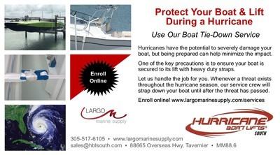 Hurricane Boat Lift Tie-Down Service - $299.00