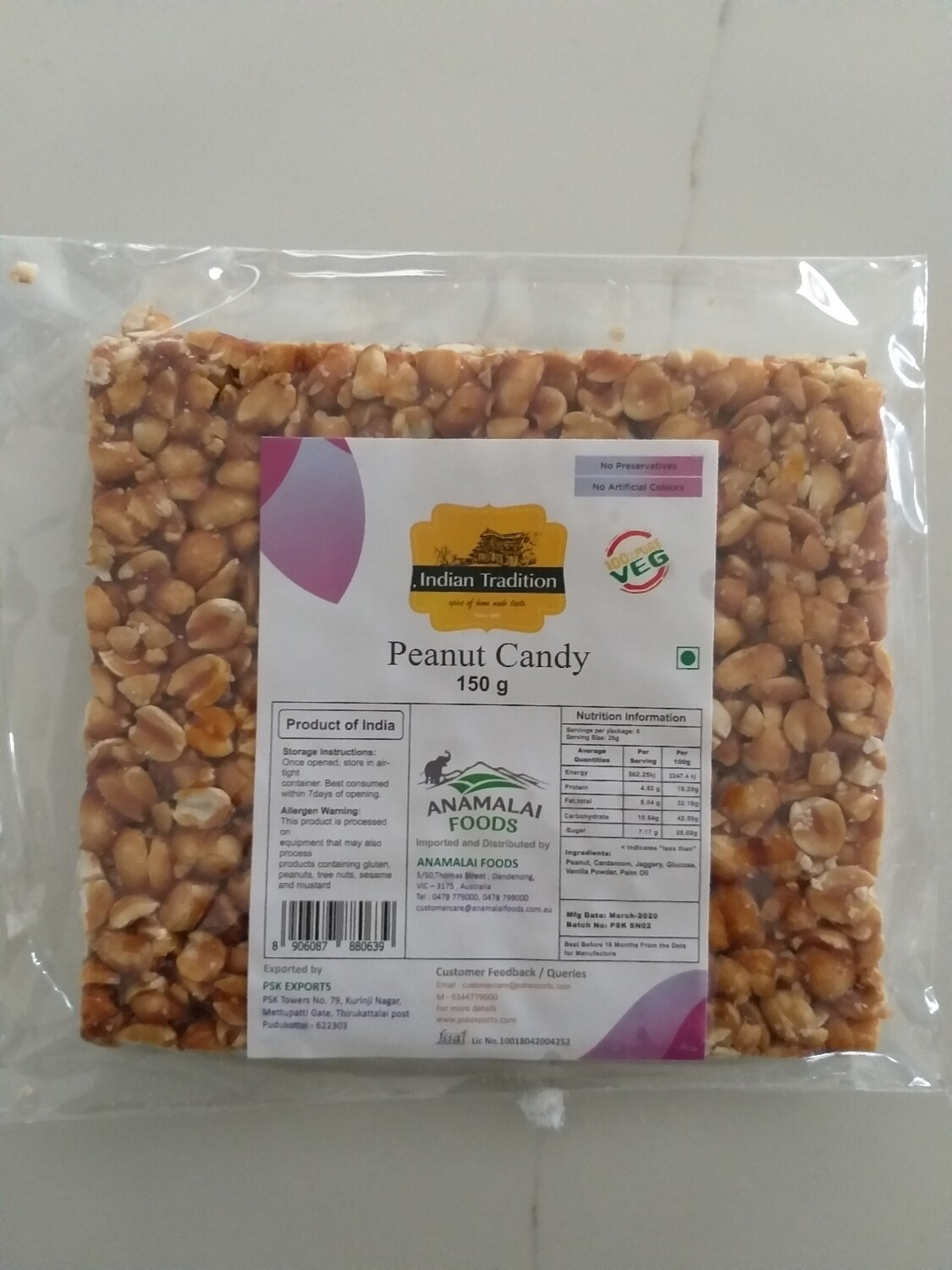 INDIAN TRADITION PEANUT CANDY/CHIKKI 150 GMS
