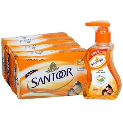 SANTOOR SOAP 100G (4 PACK) WITH FREE HANDS WASH