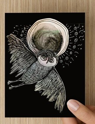 'Moon Owl' -  GREETING CARD