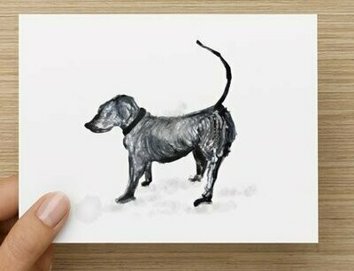 'My Little Dog Wiggles' -  GREETING CARD