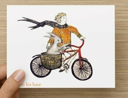 'With the wind in his hare' -  GREETING CARD