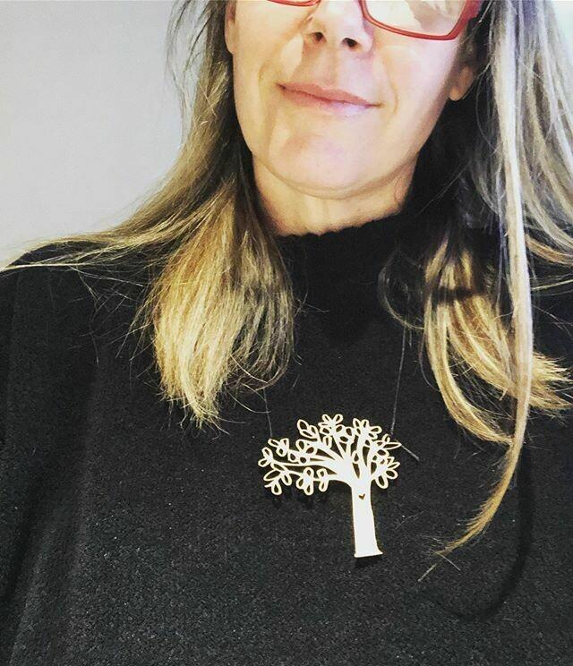 Rottnest Island Trees wood pendant on black waxed hemp