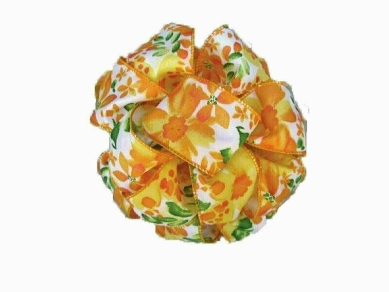 FOF09YEL - Wired Yellow Floral Pattern 50 yards Wired