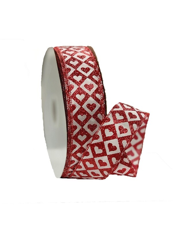 ​HTSD09 - Red / White hearts with diamonds 50 yards