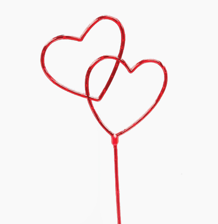 """FS9034 RED - 7"""" Double open heart pick w/ 5"""" stem $5.75 DZ Min: 1 DZ"""
