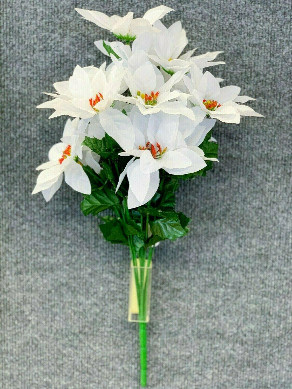 SBX04101WHT - White Poinsettia Bush x14