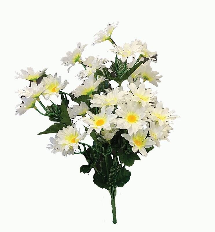 """SB1098WT- 16"""" White Mini Daisy bush x 7 $3.25 ea Case Pk: 12"""