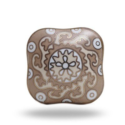 Bohemain Taupe Square Ceramic Knob
