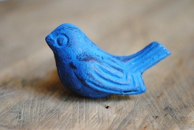 Antique Brass Bird in Blue