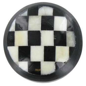 Black & White Checkered Round Bone Knob