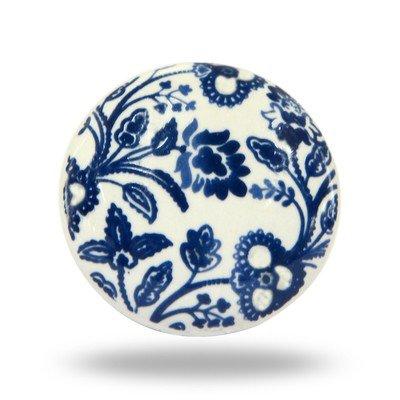 Blue Floral Ceramic Knob