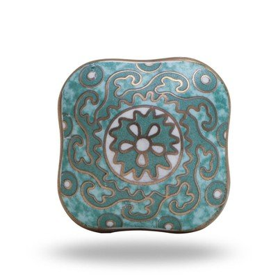 Bohemain Blue Square Ceramic Knob