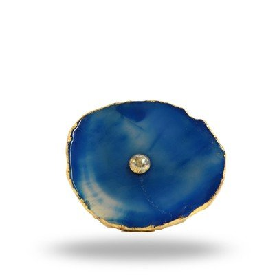 Blue Agate Know with Brass Hardware
