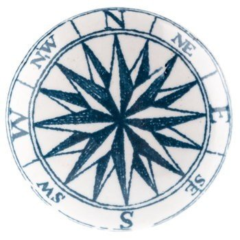 Blue and white compass