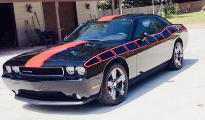 2008 - Up Dodge Challenger Full Body Length Upper Strobe Side Stripes