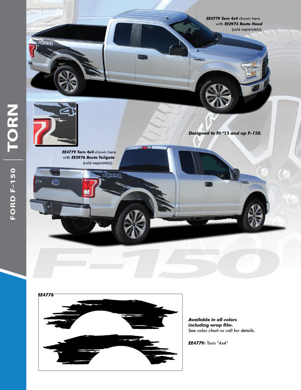 2015 - Up Ford F150 Bed Side Torn Stripes