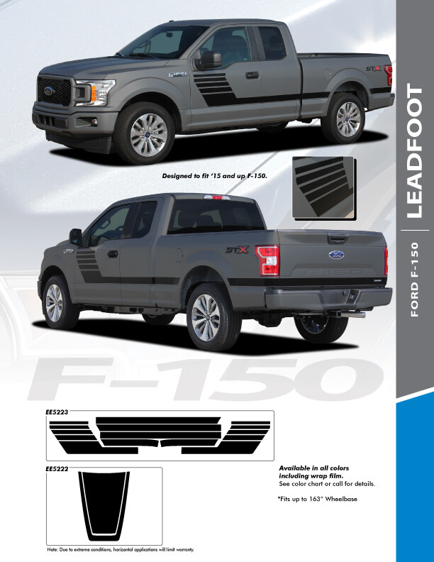 2015 - Up Ford F150 Leadfoot Side Only Stripes