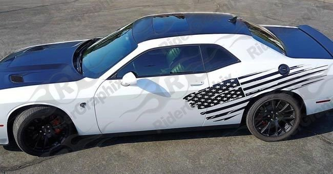2008 - Up Dodge Challenger/Charger/Misc Large Tattered Flag Graphics
