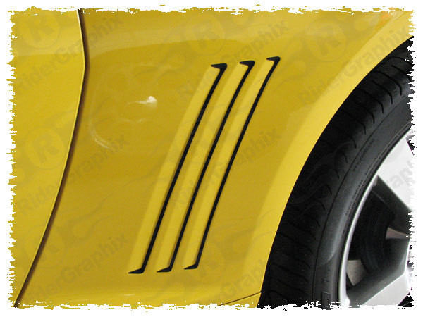 2010 - 2015 Chevrolet Camaro Rear Quarter Panel Side Vent Accent Blackout Decals Style II