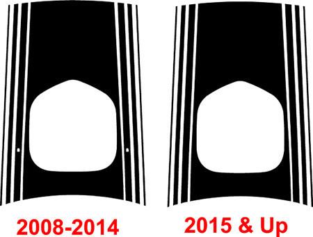 2014 - Up Dodge Challenger Shaker Extended Hood Only Stripe Kit