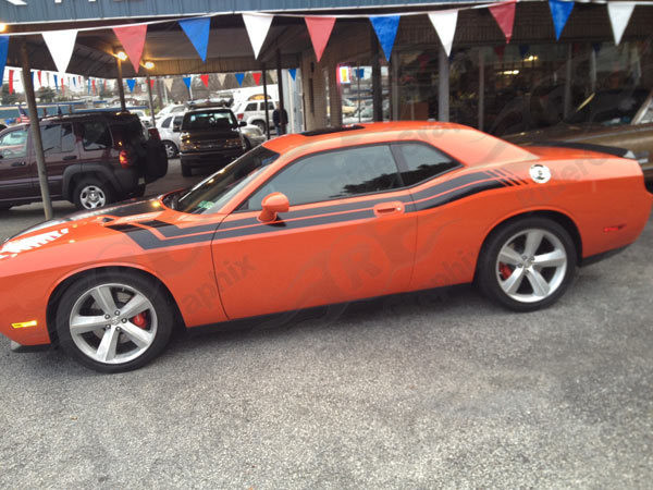 2008 - Up Dodge Challenger 71 RT Hood to Fender Style Side Stripes