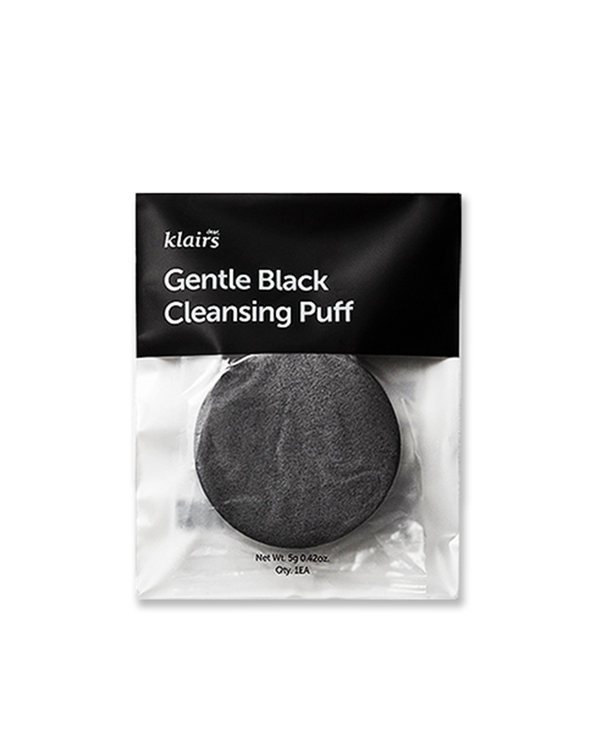 KLAIRS Gentle Black Cleansing Puff / Size: 80x80x13mm