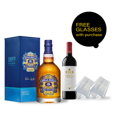 (Free Rolling Stemless Wine Glass) Chivas 18 & Wine Bundle Pack