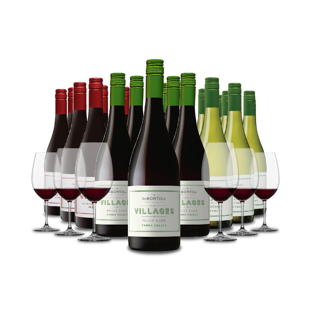 (Free Crystal Glasses) De Bortoli 'Villages' 18Bottles Mixed Case