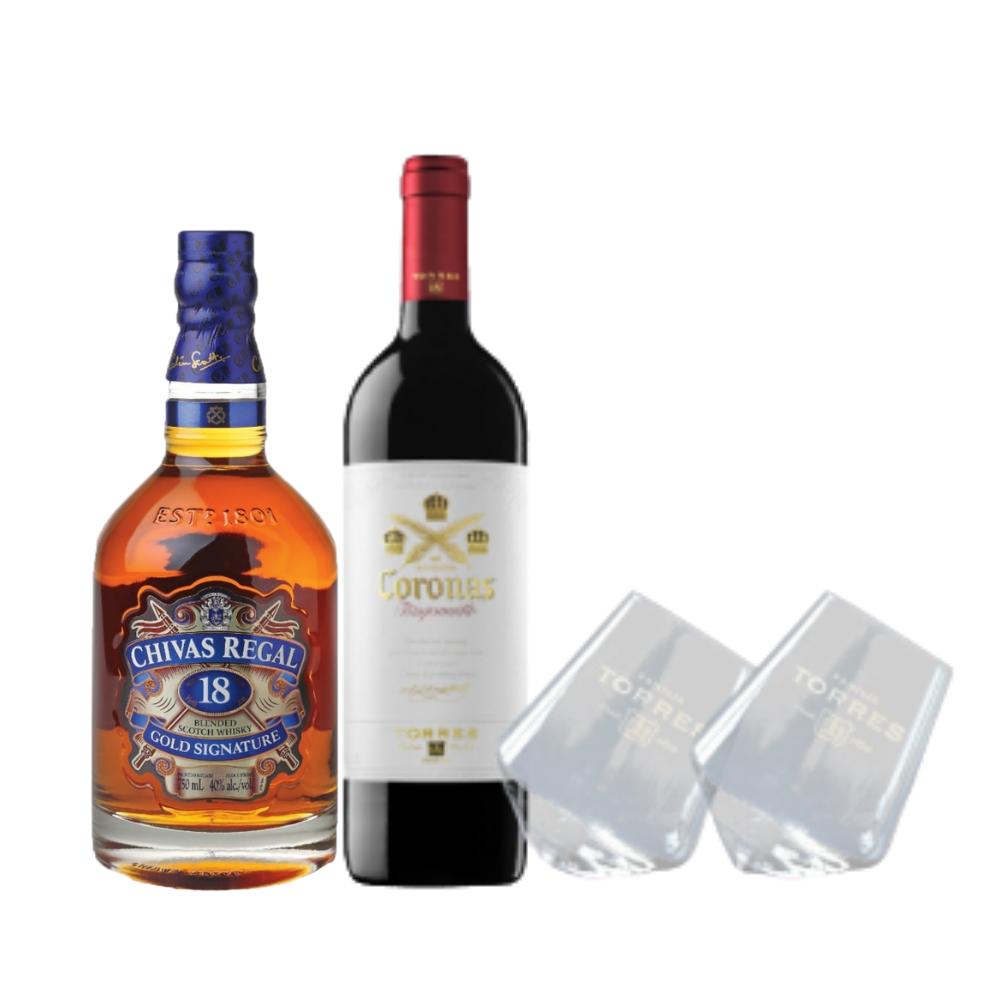 (Free Rolling Stemless Wine Glass) Chivas 18 & Wine Bundle Pack
